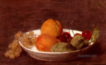 Still life Painting - A Bowl Of Fruit Henri Fantin Latour still lifes